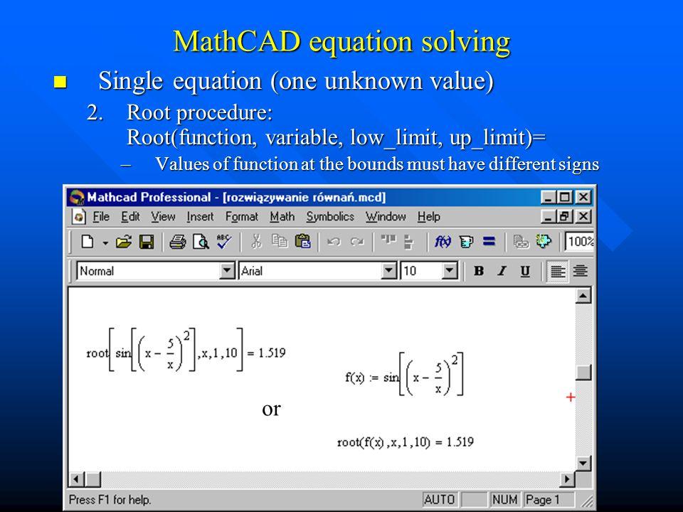 MathCAD equation solving