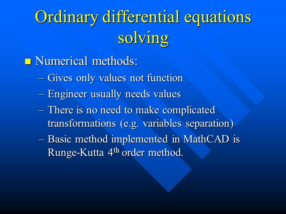 Ordinary differential equations solving