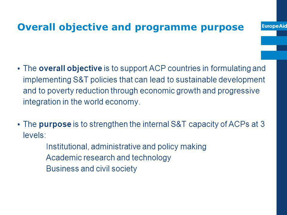 Overall objective and programme purpose