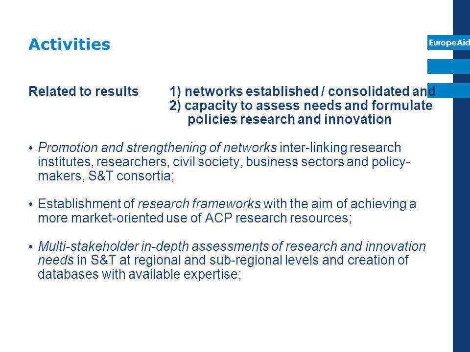 Activities Related to results 1) networks established / consolidated and.