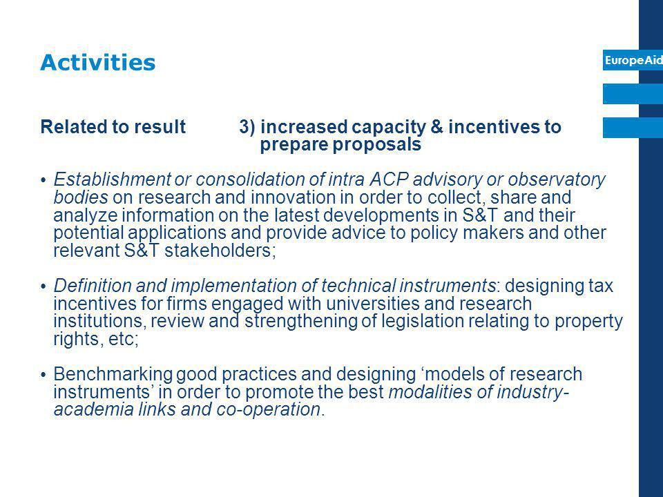 Activities Related to result 3) increased capacity & incentives to prepare proposals.