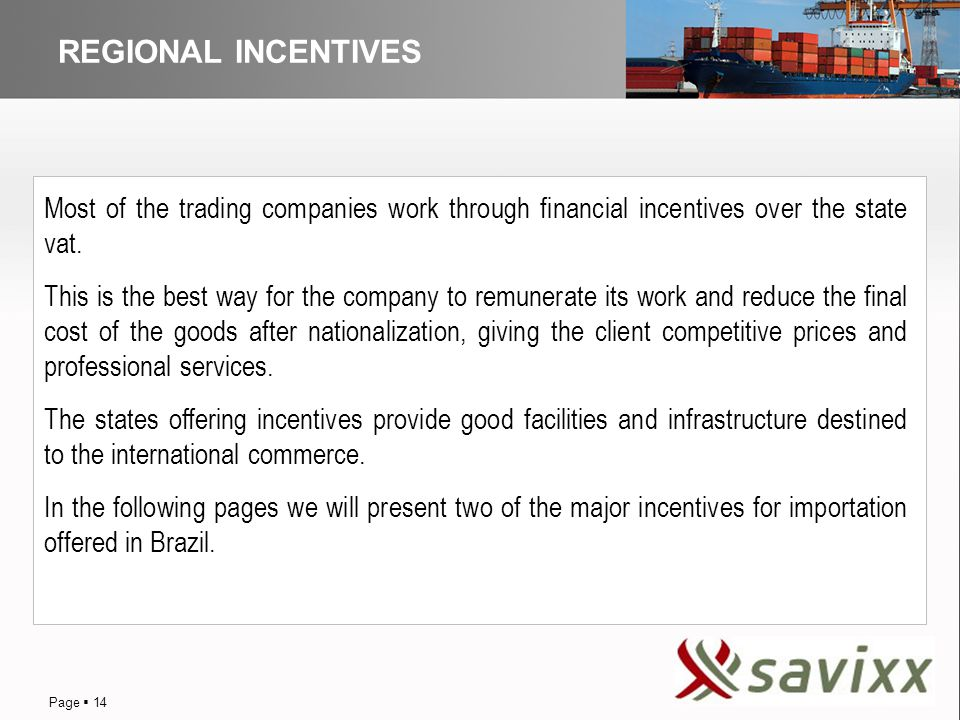 DISTRIBUTION REGIONAL INCENTIVES