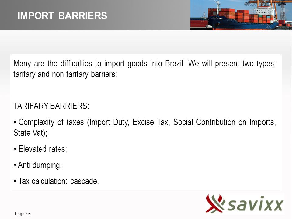 DISTRIBUTION IMPORT BARRIERS