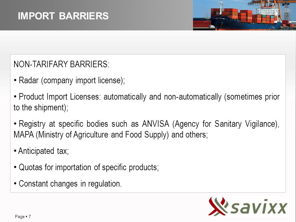 DISTRIBUTION IMPORT BARRIERS NON-TARIFARY BARRIERS: