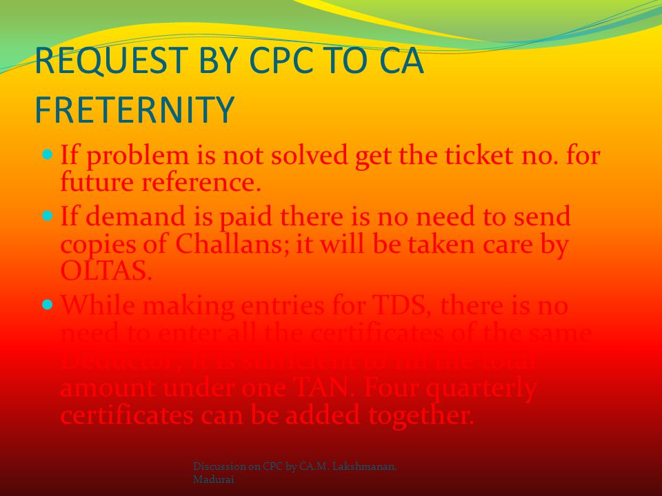 REQUEST BY CPC TO CA FRETERNITY