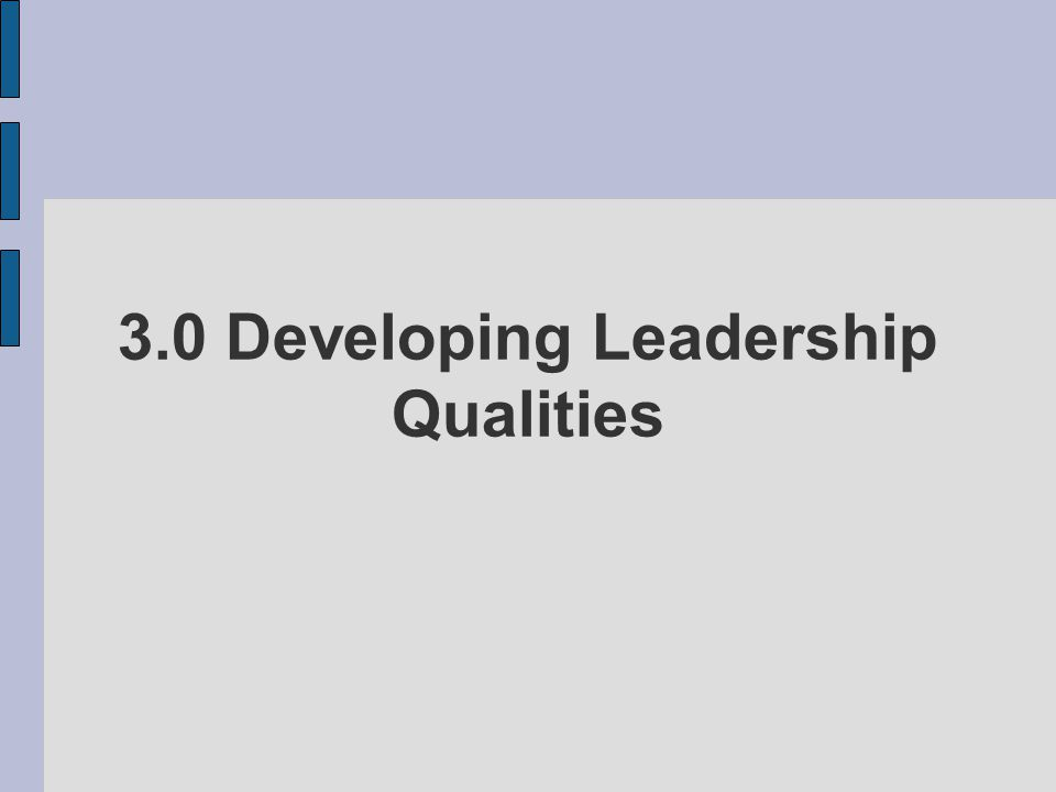 3.0 Developing Leadership Qualities