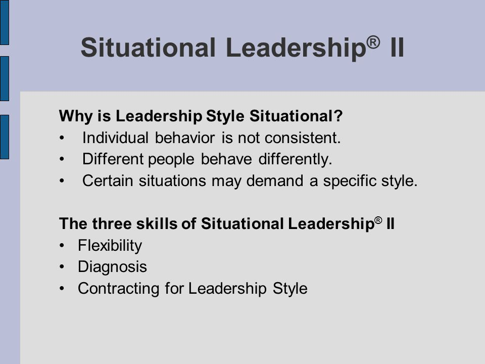 Situational Leadership® II
