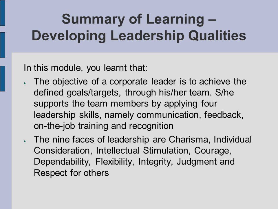 Summary of Learning – Developing Leadership Qualities