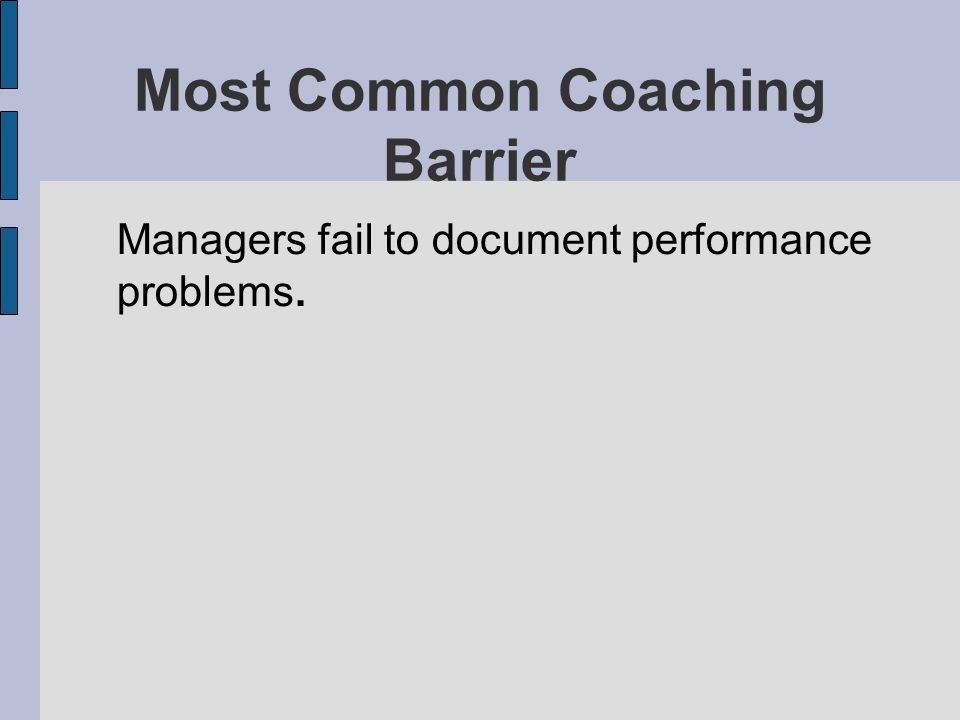 Most Common Coaching Barrier