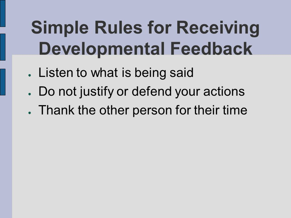 Simple Rules for Receiving Developmental Feedback