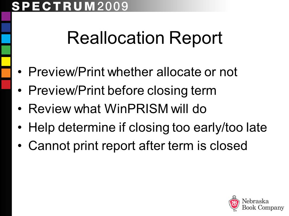 Reallocation Report Preview/Print whether allocate or not