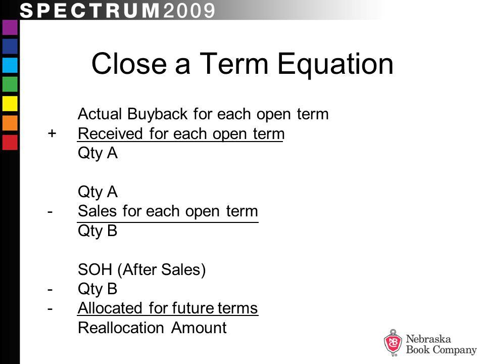 Close a Term Equation Actual Buyback for each open term