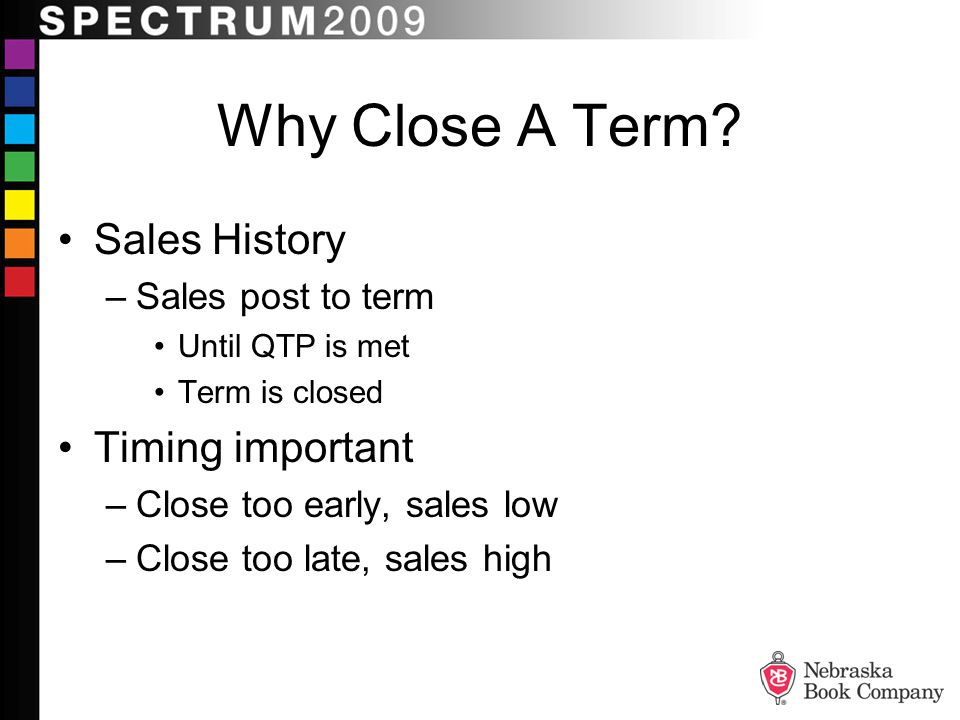 Why Close A Term Sales History Timing important Sales post to term