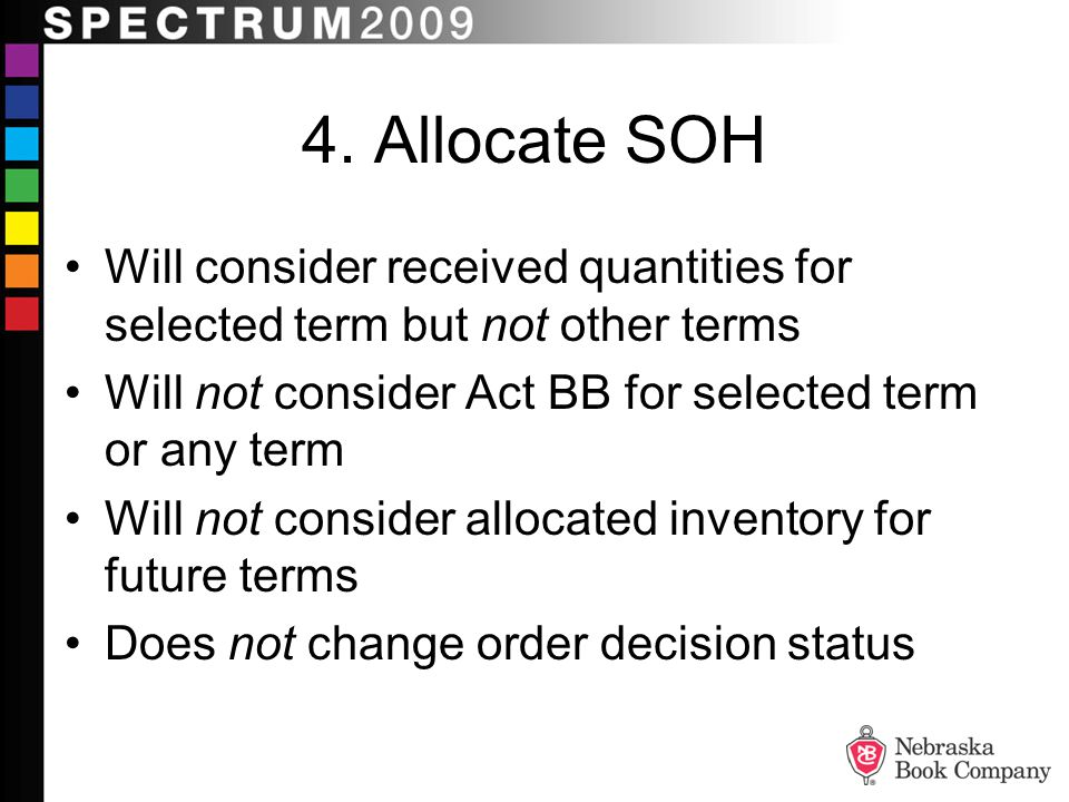 4. Allocate SOH Will consider received quantities for selected term but not other terms. Will not consider Act BB for selected term or any term.