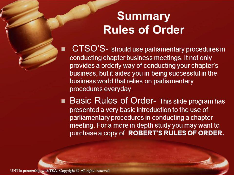 Summary Rules of Order
