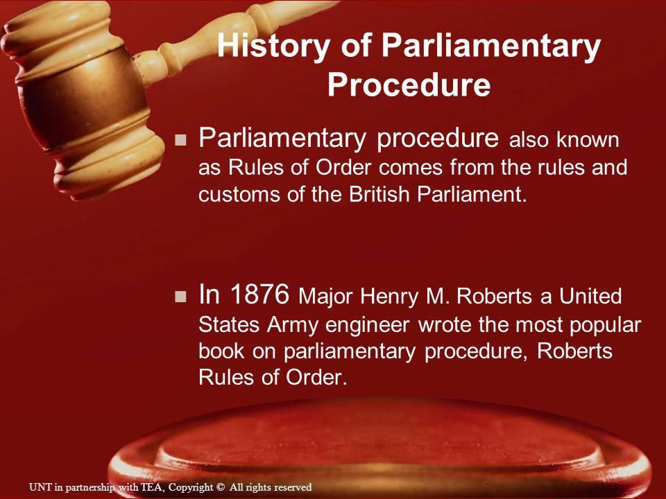 History of Parliamentary Procedure