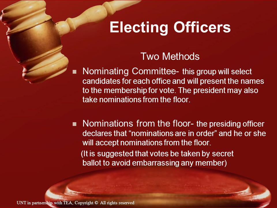 Electing Officers Two Methods