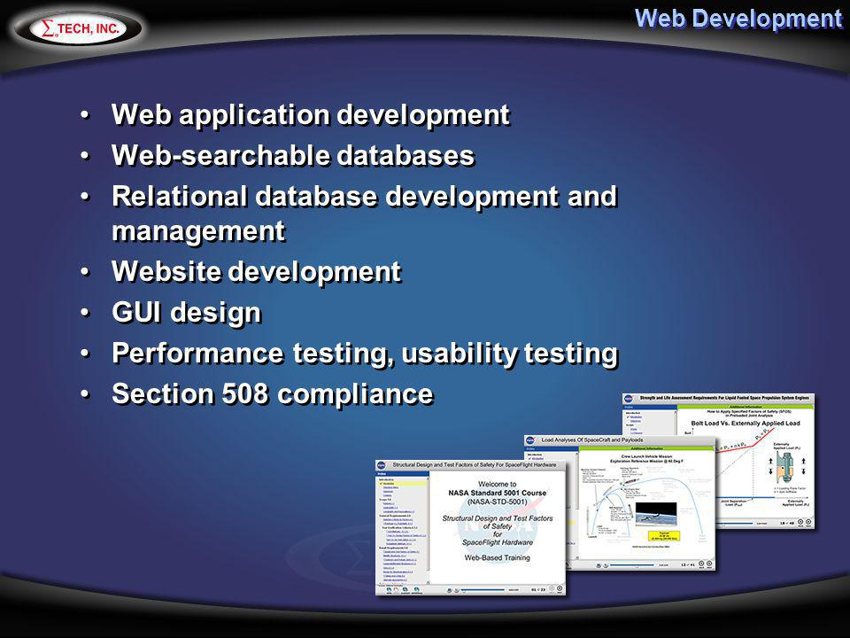 Web application development Web-searchable databases