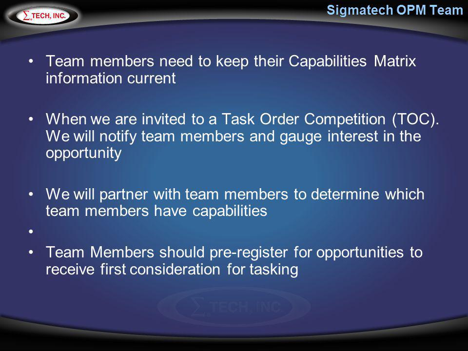 Sigmatech OPM Team Team members need to keep their Capabilities Matrix information current.
