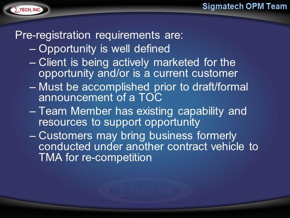 Pre-registration requirements are: Opportunity is well defined