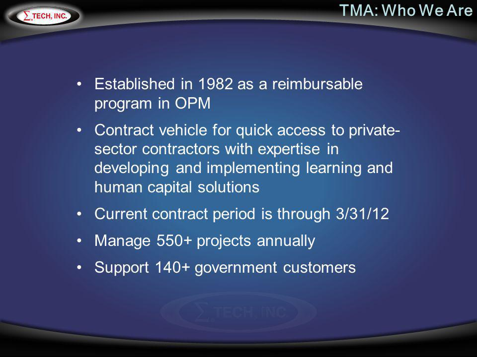 TMA: Who We Are Established in 1982 as a reimbursable program in OPM.