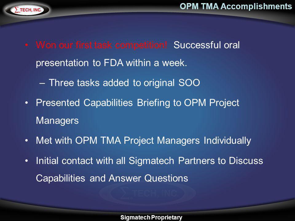 OPM TMA Accomplishments