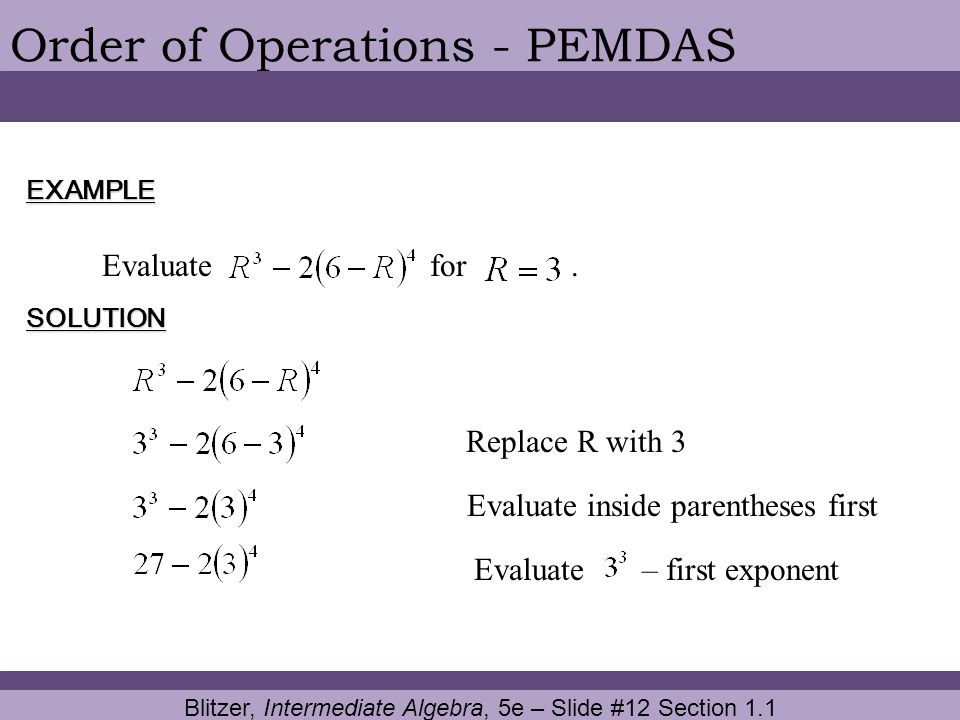 Order of Operations - PEMDAS