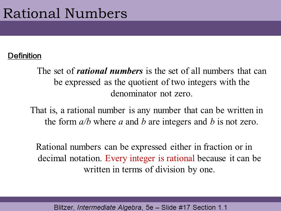 Blitzer, Intermediate Algebra, 5e – Slide #17 Section 1.1