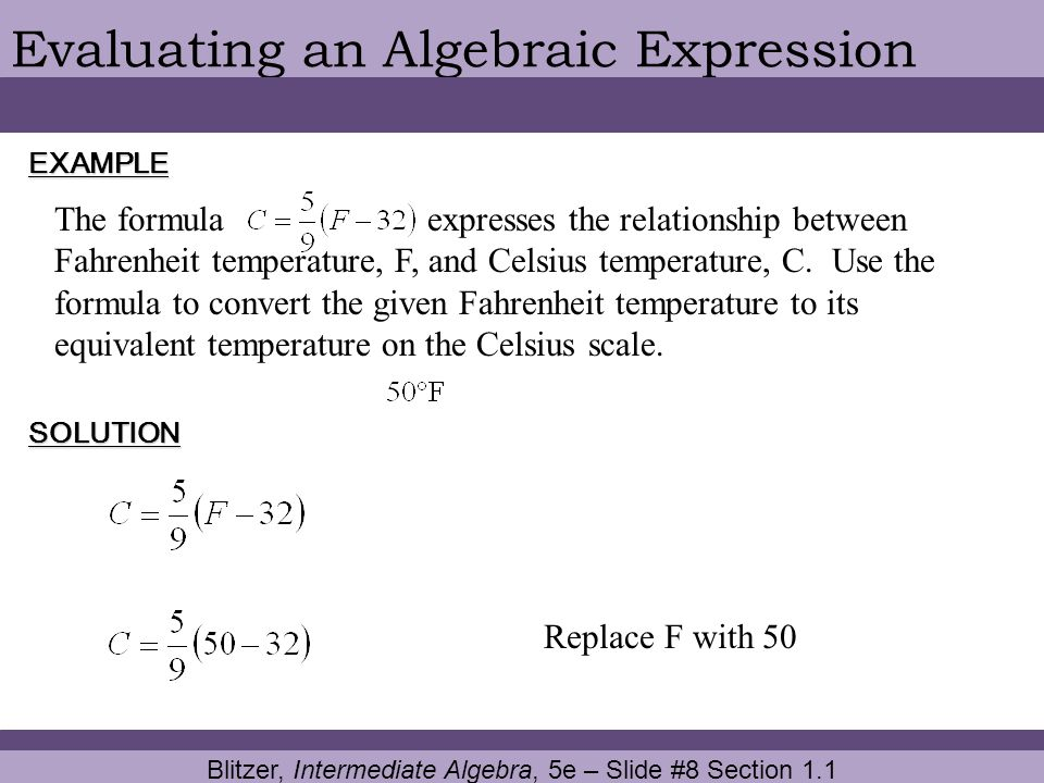 Blitzer, Intermediate Algebra, 5e – Slide #8 Section 1.1