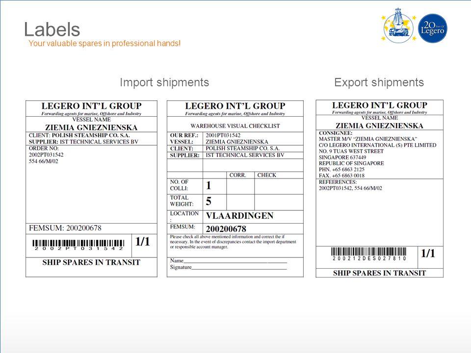 Labels Import shipments Export shipments