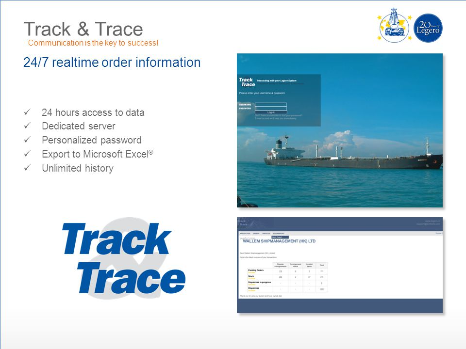 Track & Trace 24/7 realtime order information 24 hours access to data