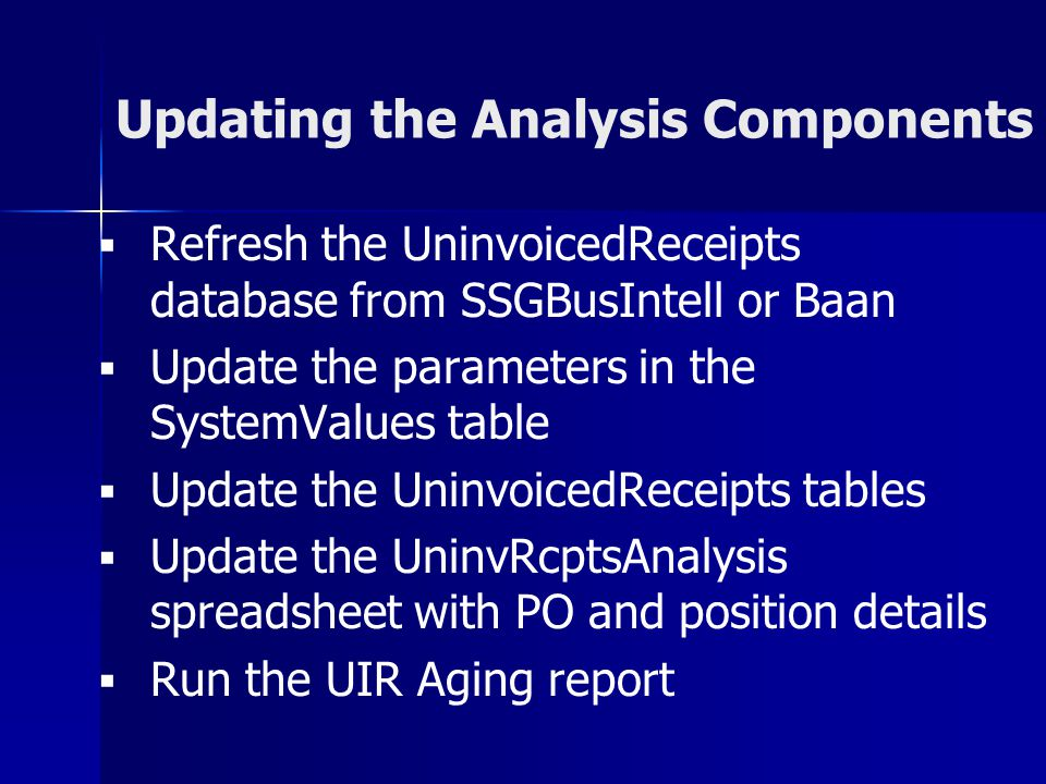 Updating the Analysis Components