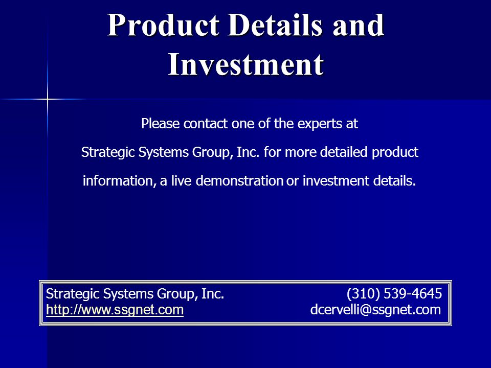 Product Details and Investment