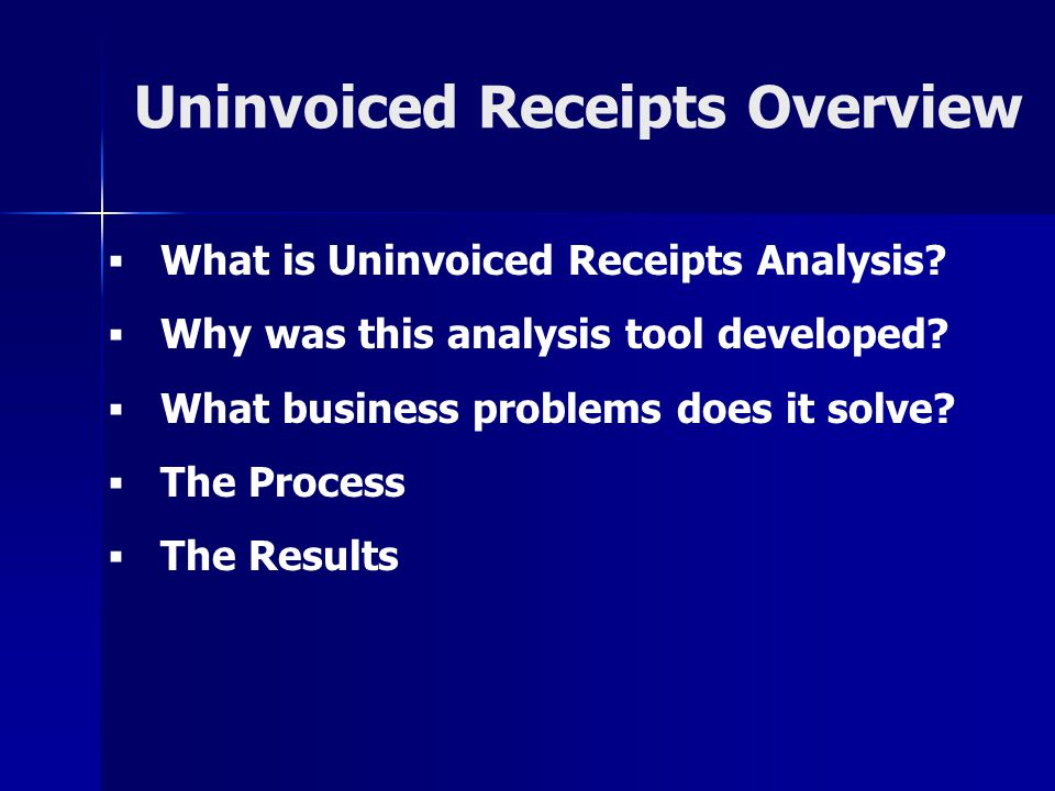 Uninvoiced Receipts Overview