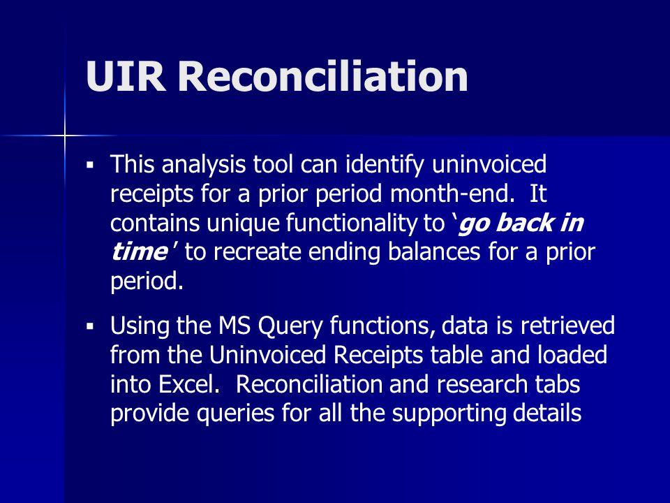 UIR Reconciliation