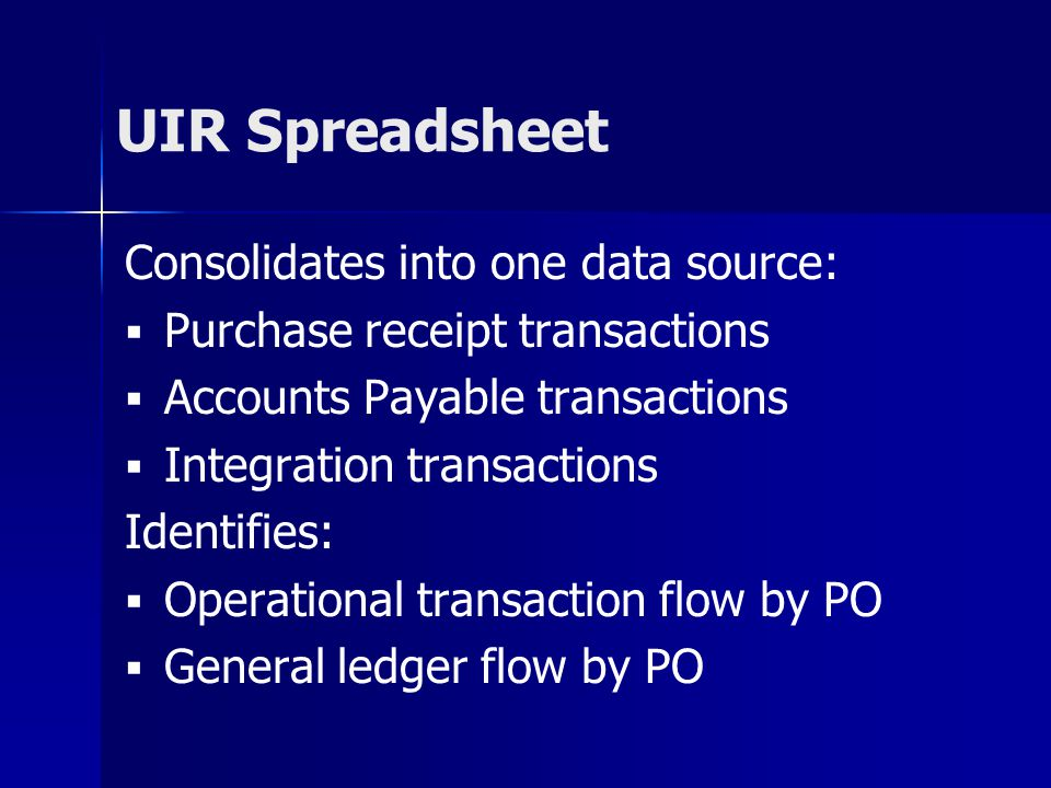 UIR Spreadsheet Consolidates into one data source: