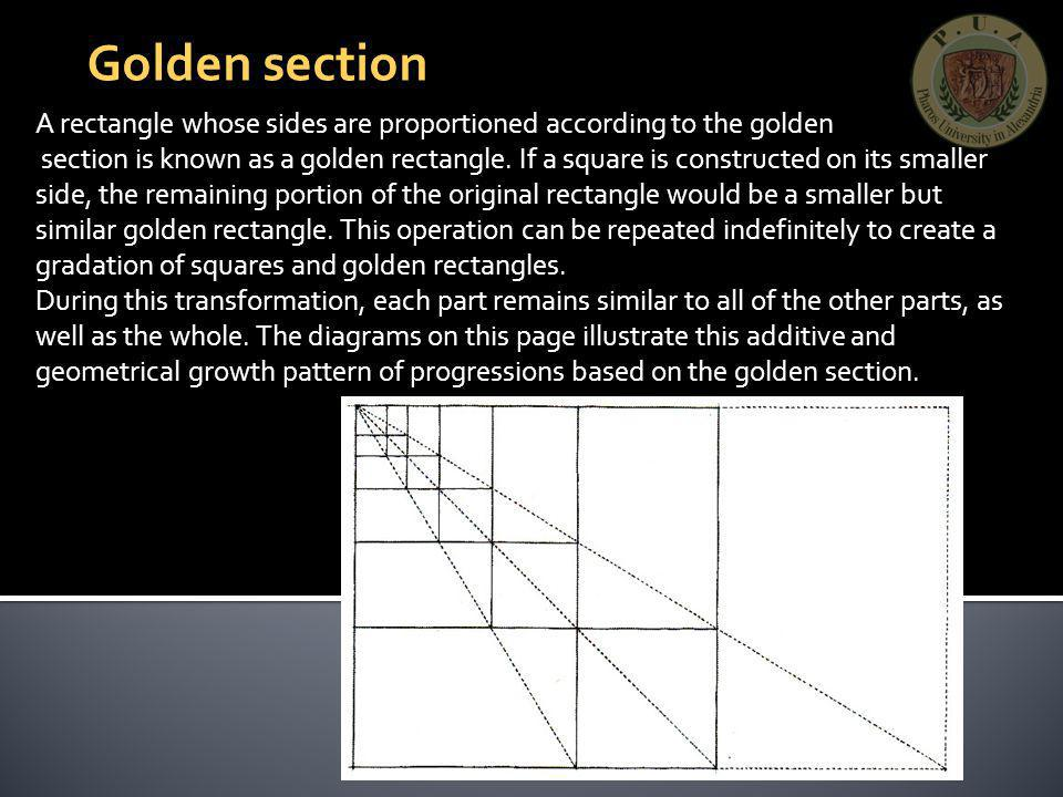 Golden section A rectangle whose sides are proportioned according to the golden.