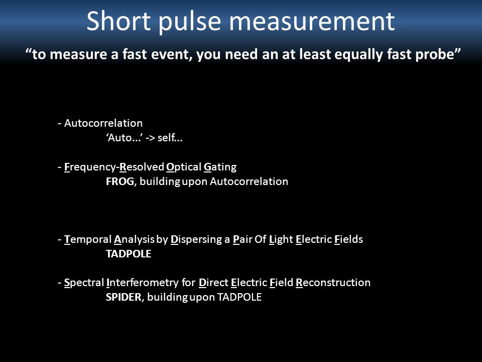 Short pulse measurement