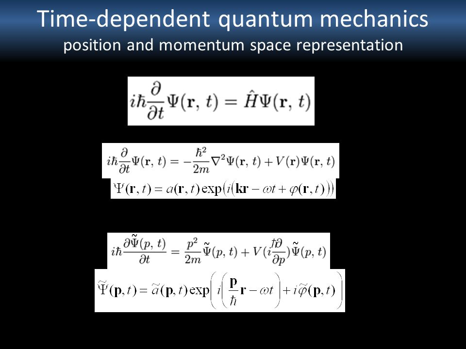 Time-dependent quantum mechanics position and momentum space representation