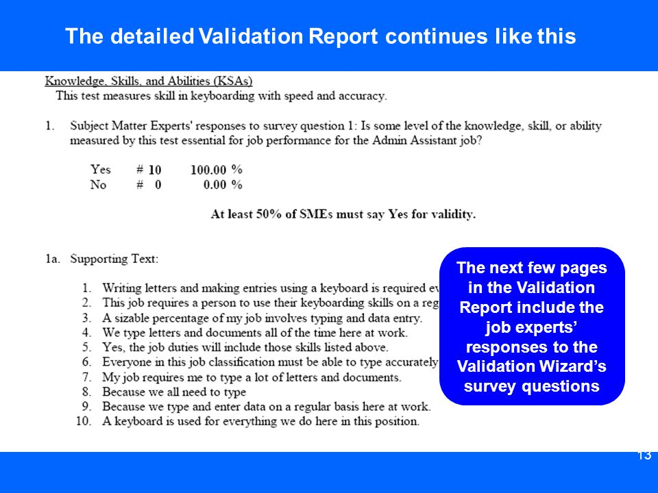 The detailed Validation Report continues like this