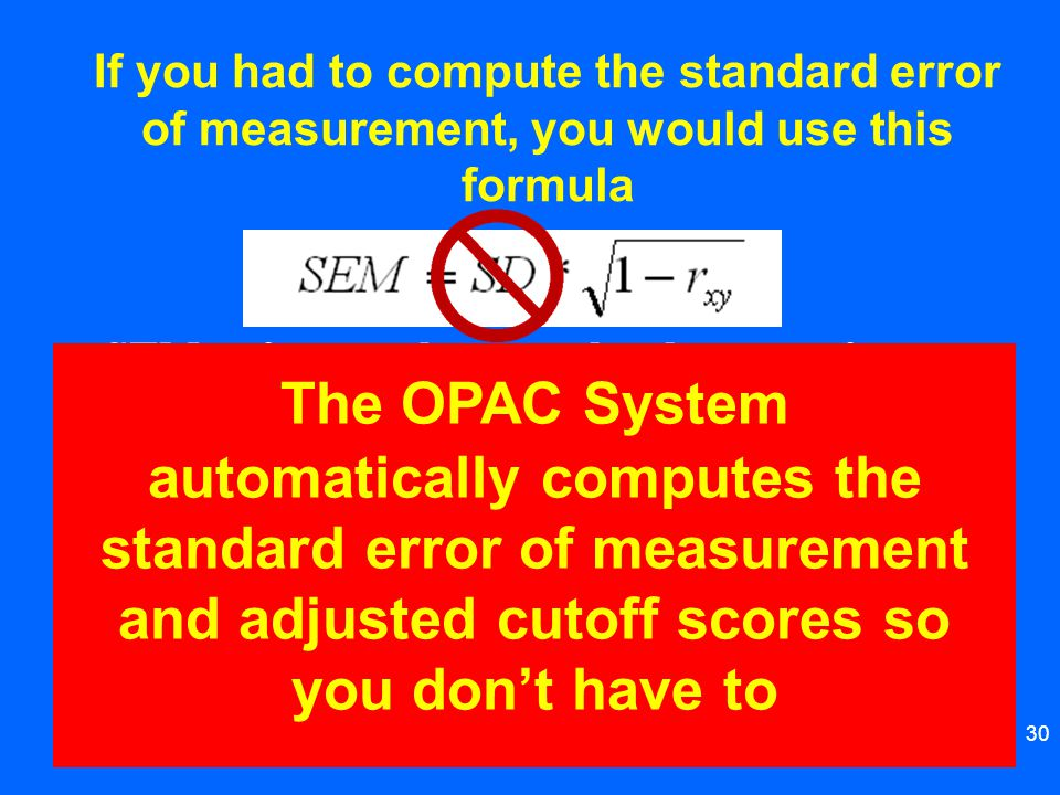 If you had to compute the standard error of measurement, you would use this formula