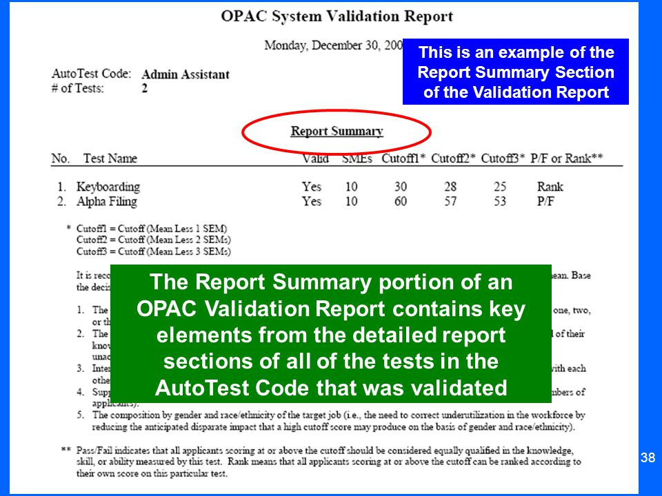 This is an example of the Report Summary Section of the Validation Report