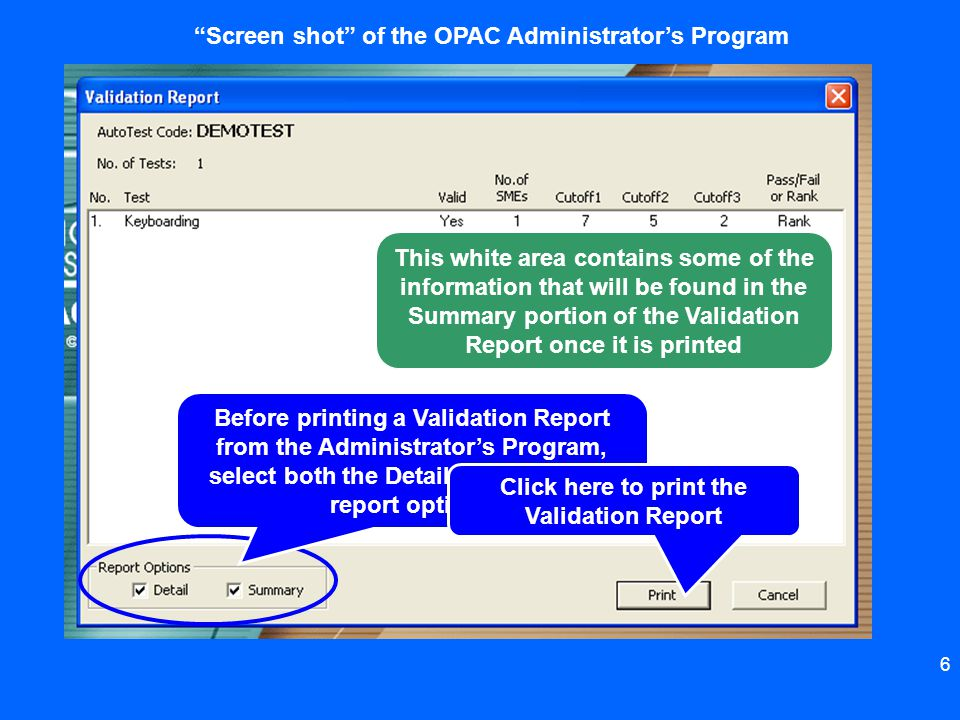 Screen shot of the OPAC Administrator's Program