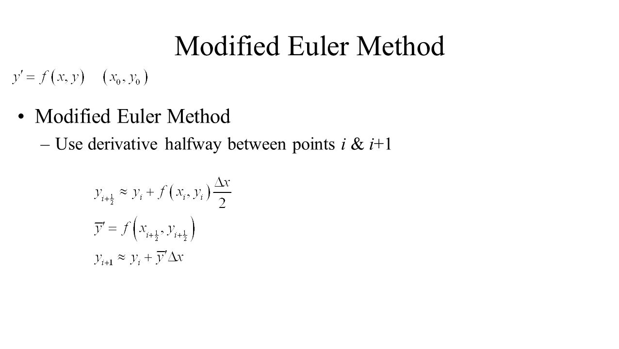 Modified Euler Method Modified Euler Method