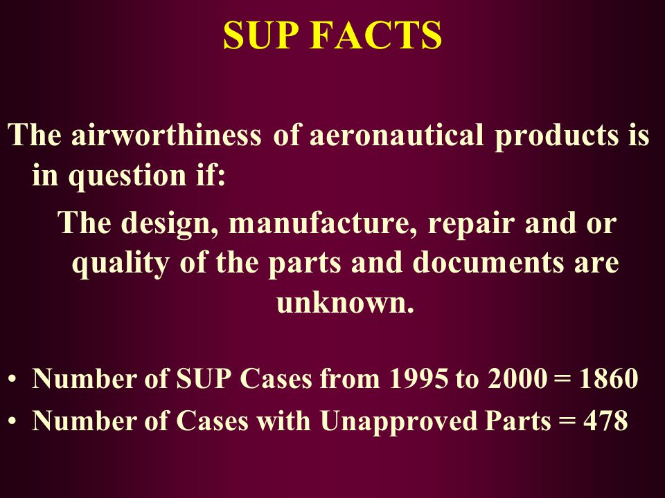 SUP FACTS The airworthiness of aeronautical products is in question if: