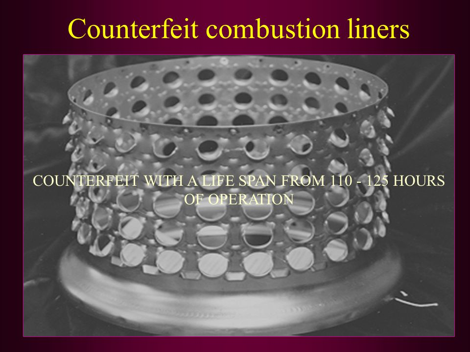 Counterfeit combustion liners