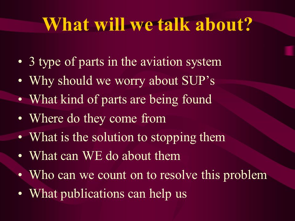 What will we talk about 3 type of parts in the aviation system