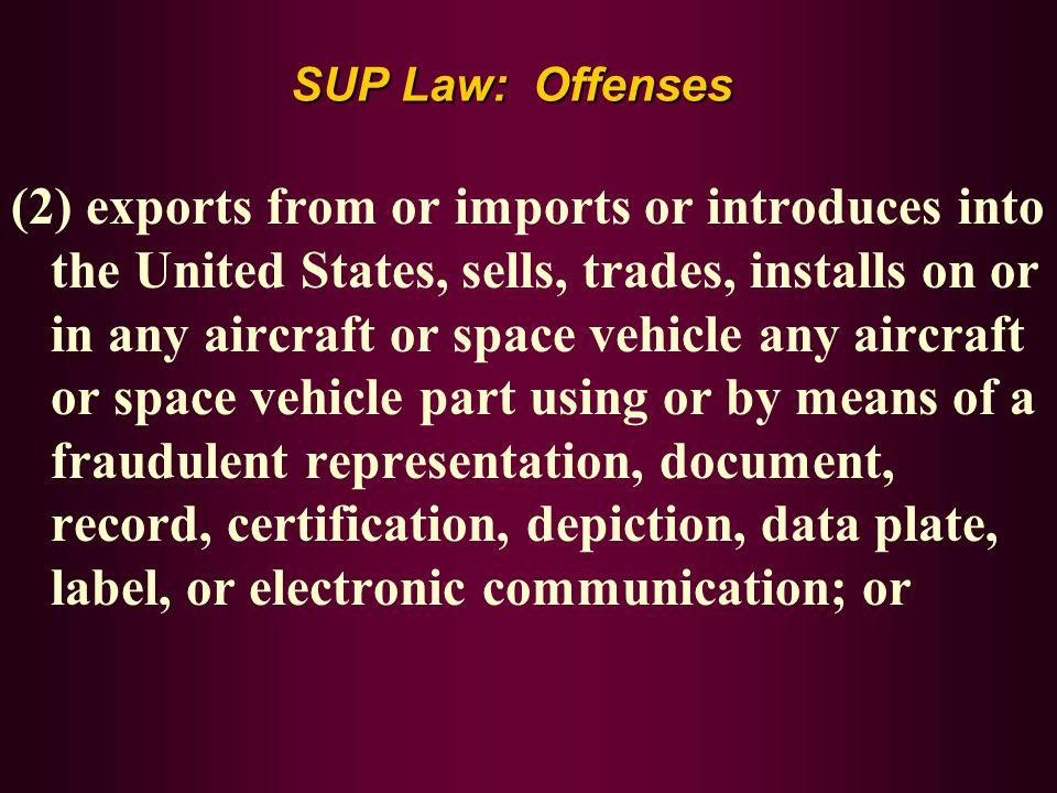 SUP Law: Offenses
