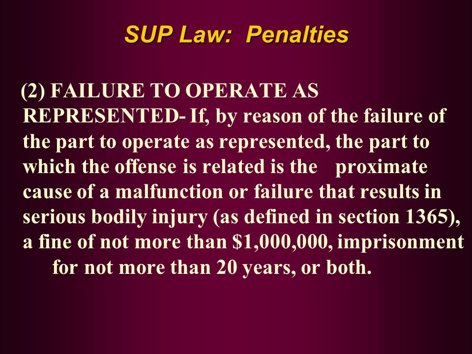 SUP Law: Penalties