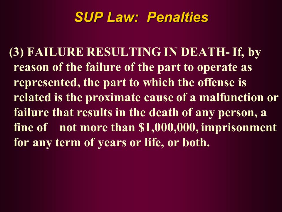 SUP Law: Penalties